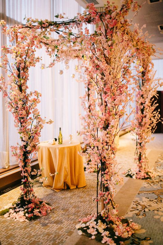 lush cherry blossom wwedding chuppah to try