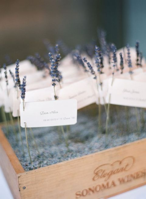 lavender escort card display