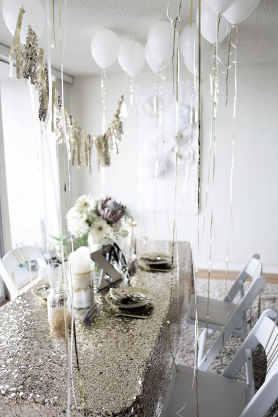 silver and white bridal shower decor