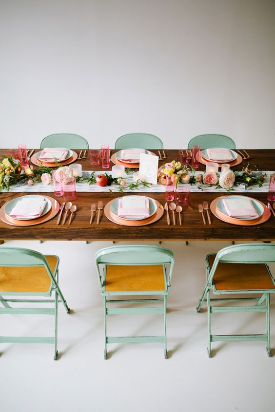 stunning mint, rose gold and peach wedding table