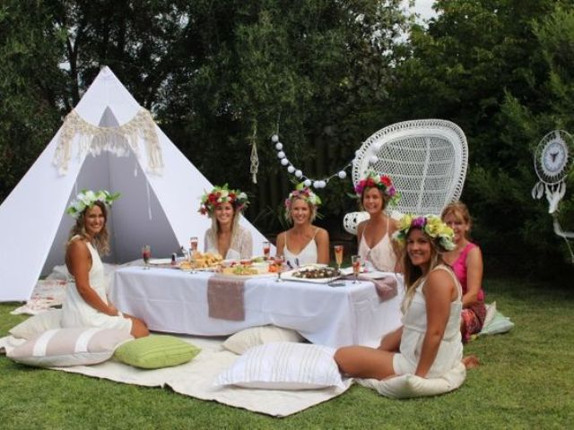 boho shower table can be placed right on the grass for a summer picnic, add a teepee
