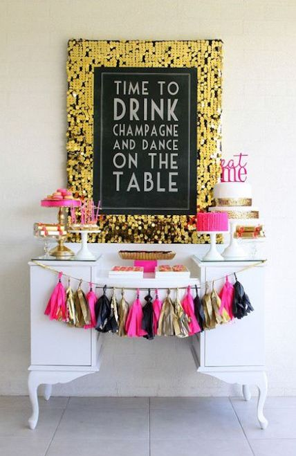 cheerful black, pink and gold dessert table