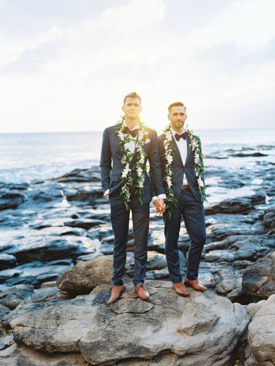 chic grey tuxedos with black bow ties and cognac boots