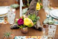 19 colorful ikat placemats, airplants and boho florals