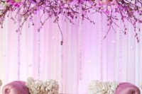 19 couple stage with cherry blossom and roses decor over it