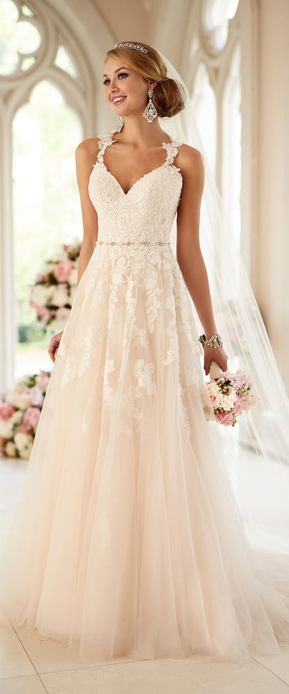 dusty pink wedding dress with white lace appliques and lace straps