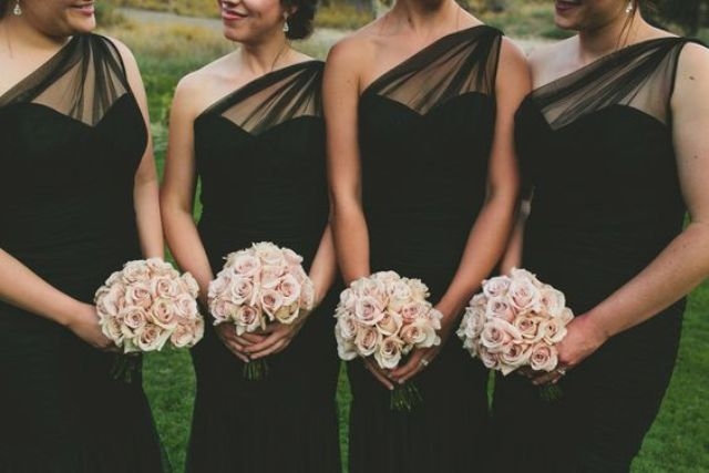 elegant draped black bridesmaids' dress with blush rose bouquets