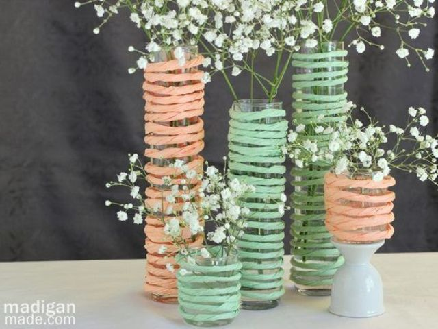 simple mint and peach centerpieces with baby