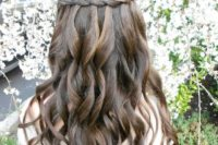 20 a braid with curls looks very boho-inspired