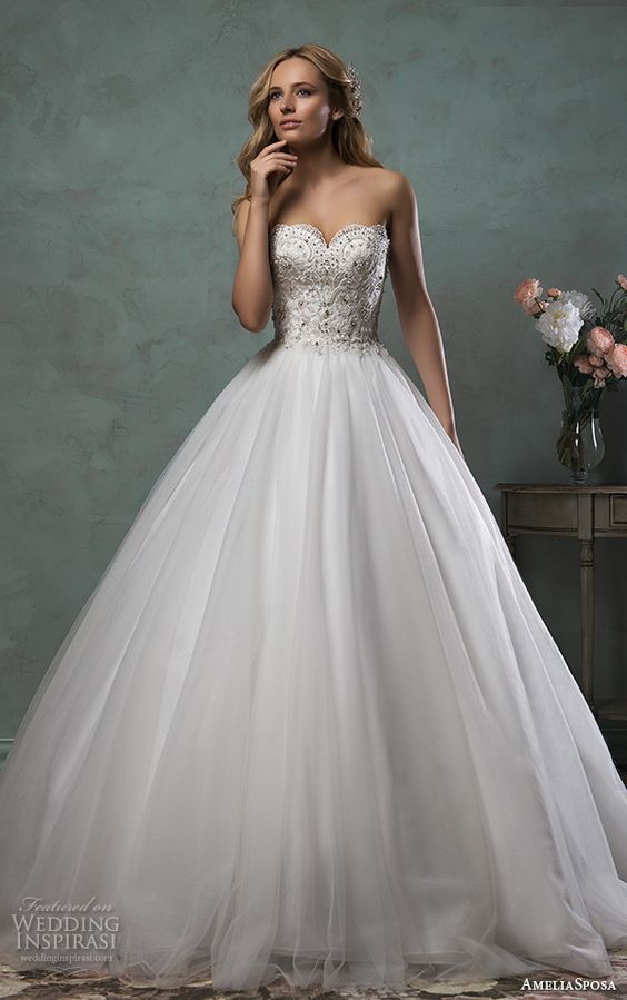 lace beaded bodice and a tulle skirt look chic together