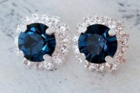 20 navy blue earrings with Swarovski crystals