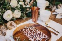 21 a wood charger, copper, lush florals don't need additional decor, so the placemat is white