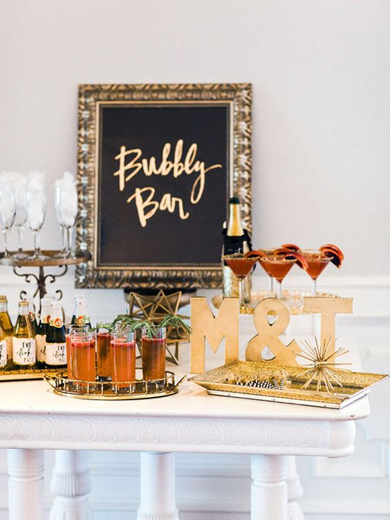 a bubbly bar is essential for a New Year bridal shower