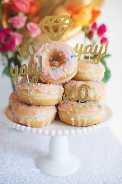 glazed donuts with glitter toppers