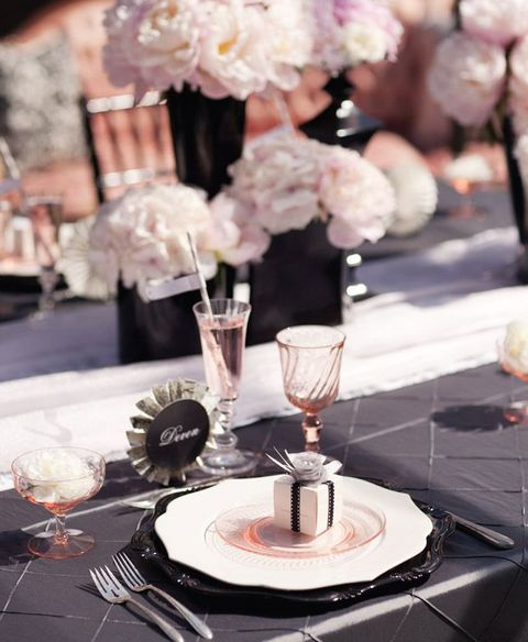 blush and black table setting with white touches