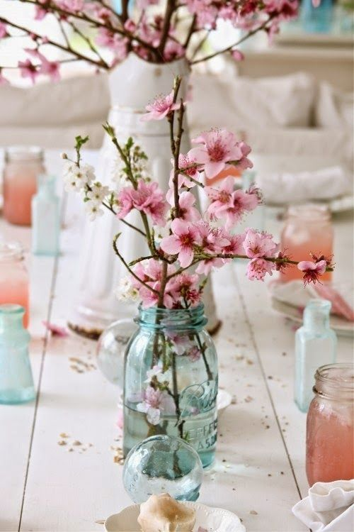 cherry blossom branches can serve as pretty centerpieces