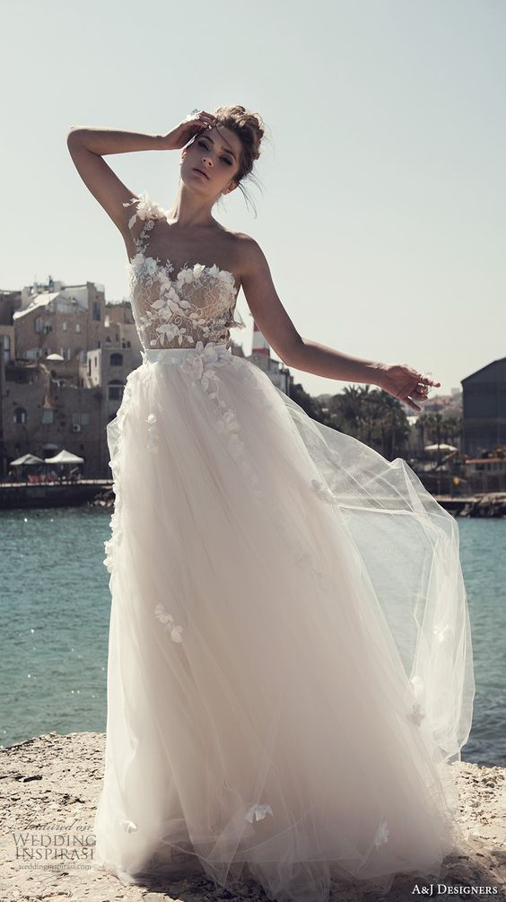 floral one strap and bodice, a tulle skirt for a romantic bride