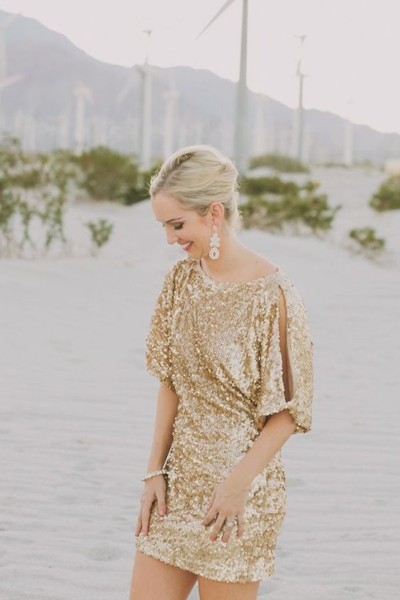 gold sequin dress with short cold shoulder sleeves