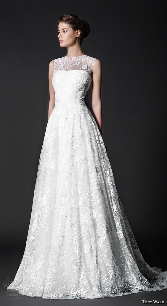 lace wedding dress with an illusion neckline is classics