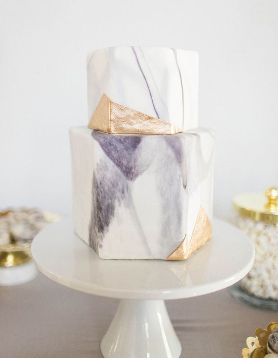 lavender and gold marble geometric wedding cake