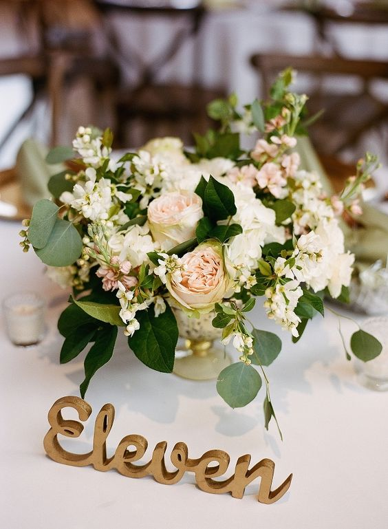blush and ivory centerpieces for garden wedding decor