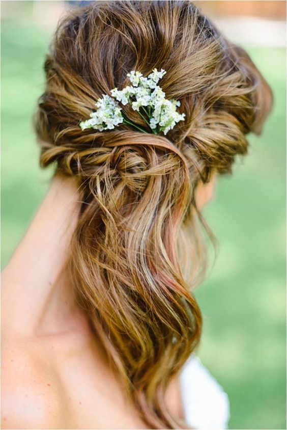 boho woven side swept wavy hair with baby