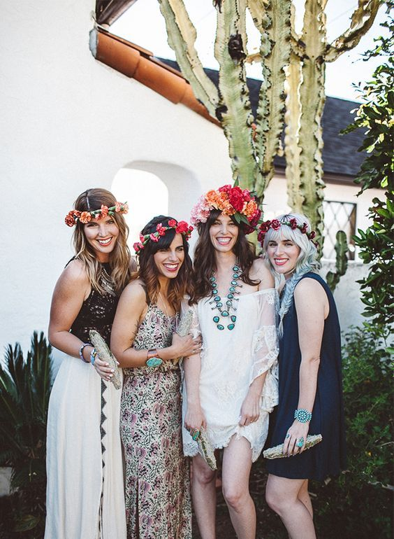 dress up in boho outfits and add flower crowns
