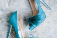 24 suede tiffany blue heels with feathers
