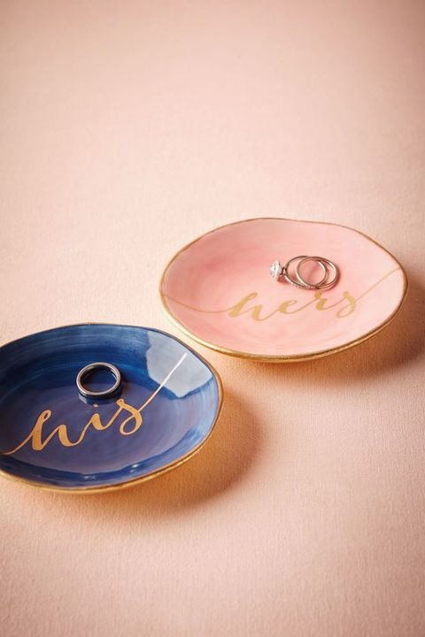 a blush and a navy ring dish