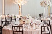 25 blush and ivory wedding table setting, dark chairs