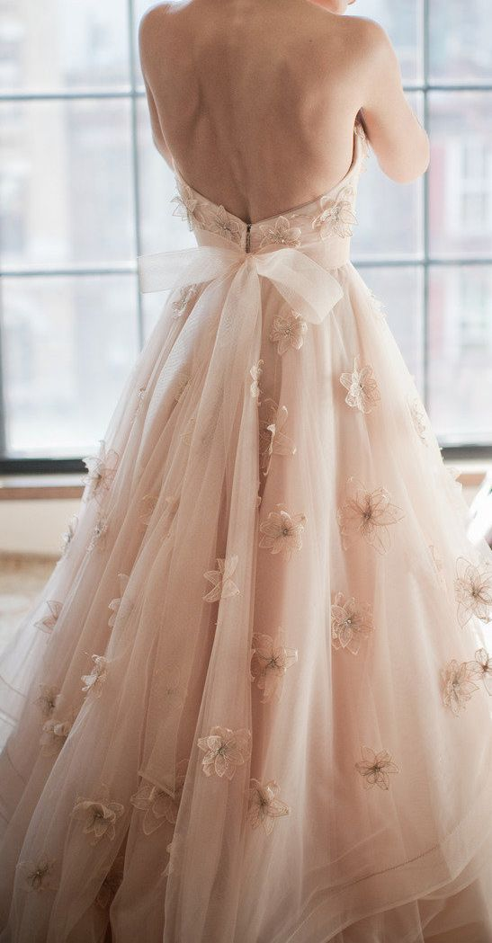 blush wedding gown with flower lace appliques