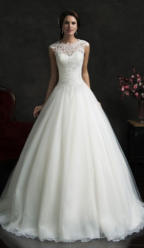 formal ball gown with a lace illusion bodice and a tulle skirt