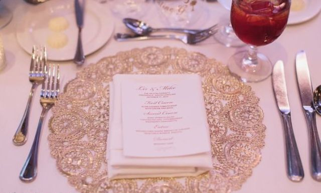 gold doily placemats make up the whole table decor