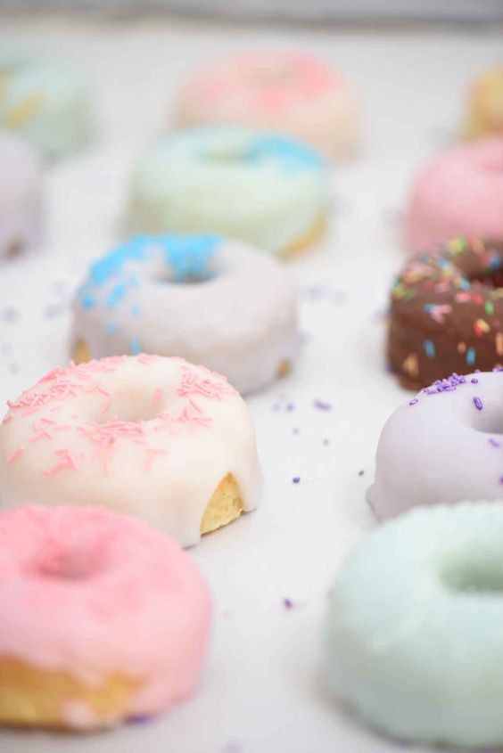 pastel glazed donuts for the bridal shower