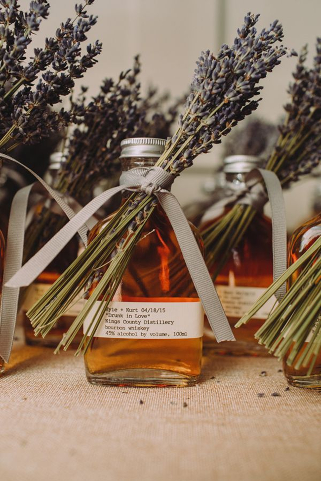 whiskey topped with lavender for guest favors