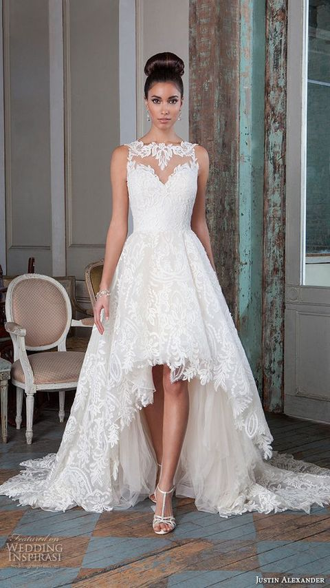 fd83434a7d Picture Of an illusion neckline lace dress with a high low skirt ...