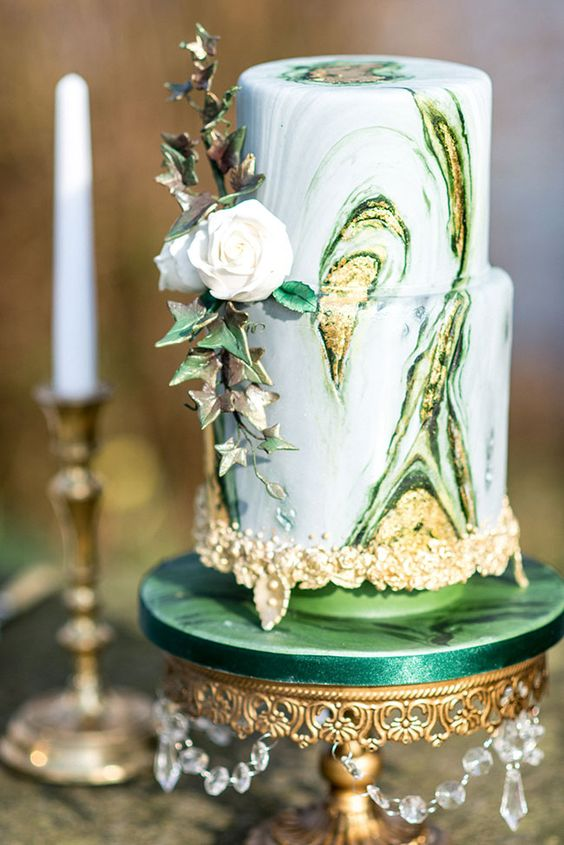 Picture Of Bold Green And Gold Marble Cake With Ivy Decor