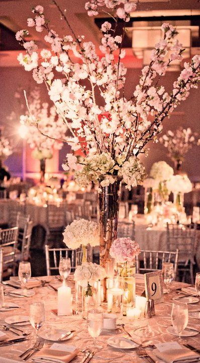 large cherry blossom branches for a chic centerpiece