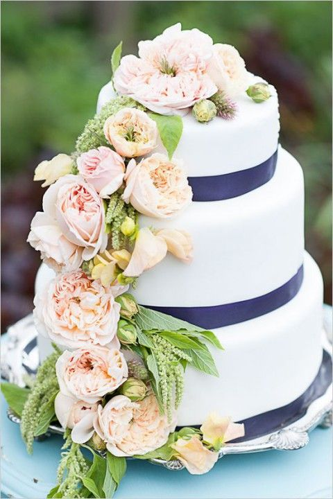 a white cake with navy ribbon and blush flowers