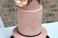 27 blush and black lace wedding cake with ivory flowers