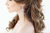 27 elegant half up half down wedding hairstyle with divine curls