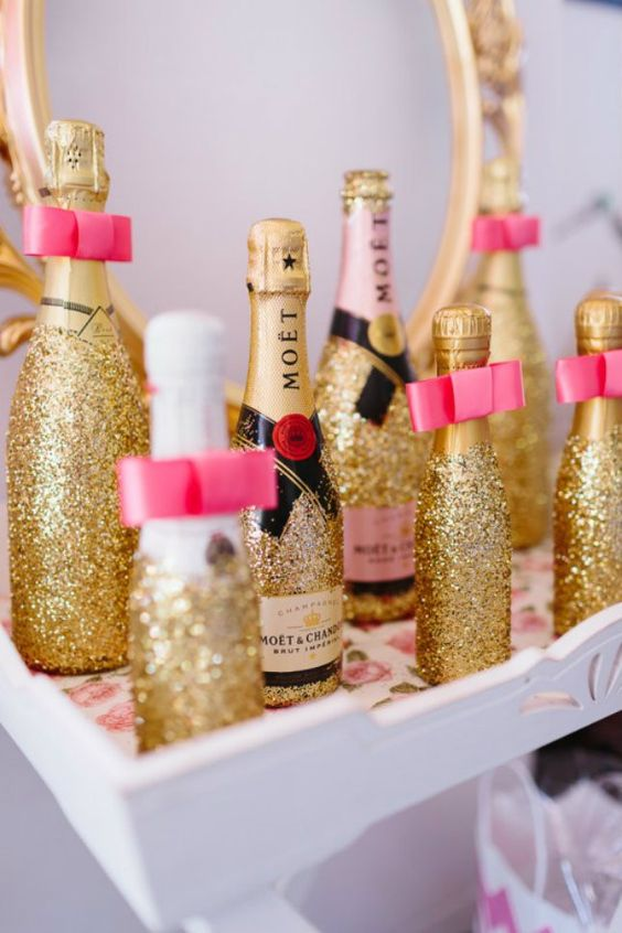 glitter champagne bottles as bridal shower favors
