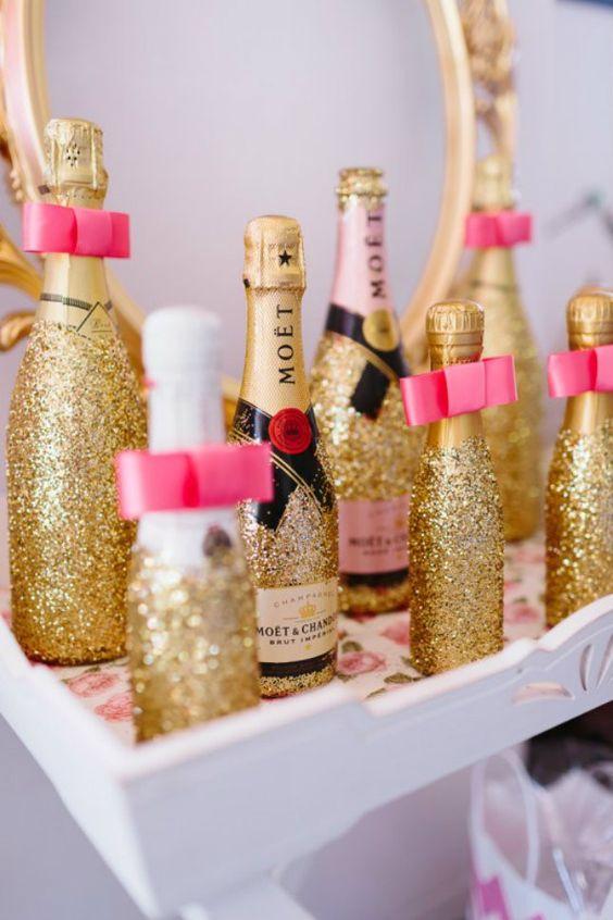 glitter champagne bottles as bridal shower favors