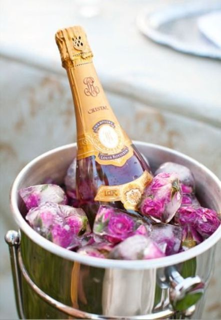 pink champagne and floral ice for a gals' party
