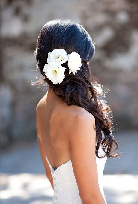 gorgeous, half up hairstyle with ivory lisianthus and garden roses