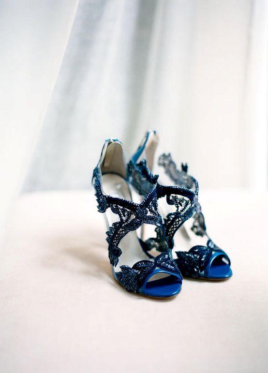 navy lace heels by Oscar de la Renta