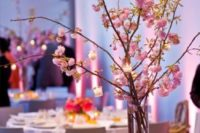 28 pink cherry blossom with tiny candle holders
