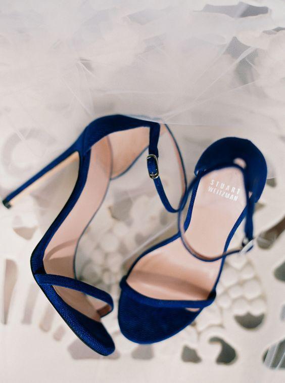 elegant modern navy blue heels with straps