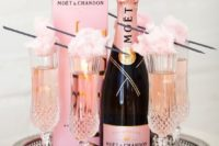 29 rose Moet and cotton candy for topping