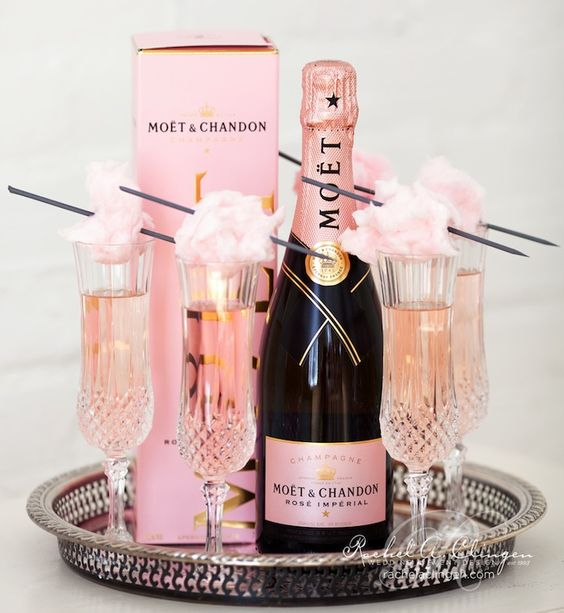 rose Moet and cotton candy for topping